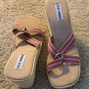 Steve Madden Platform Wedge Striped Sandals Size 9